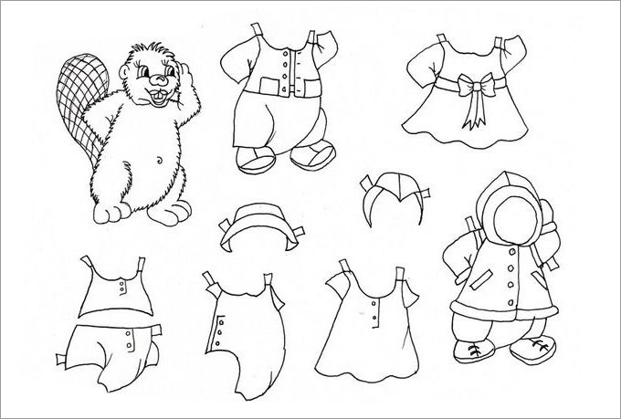 animal paper doll template