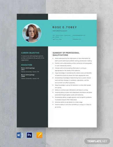anthropologist resume template
