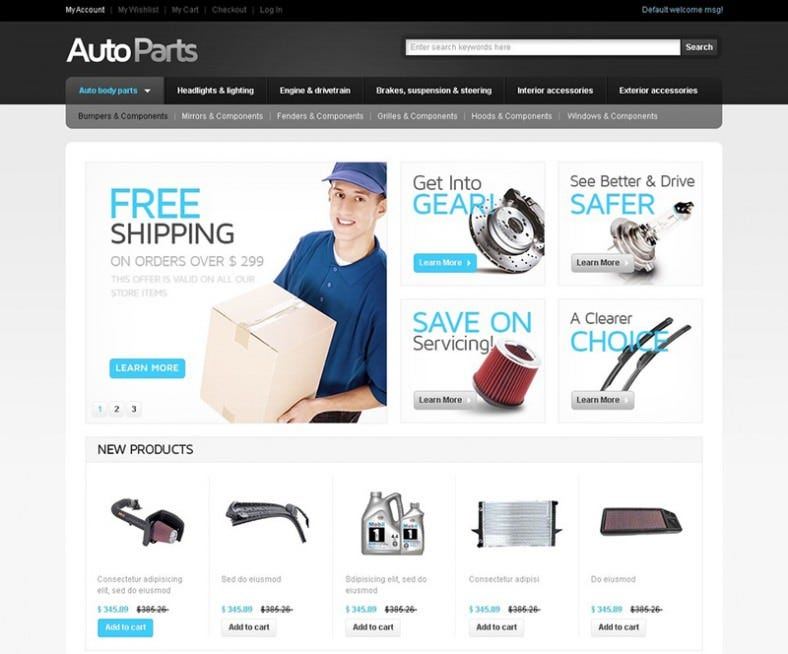 Auto parts magento website templates themes free for Magento homepage template