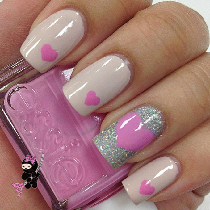 35 easy and amazing nail art designs for beginners free awesome pink nail art design prinsesfo Choice Image