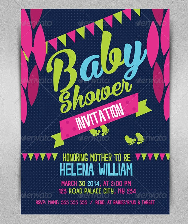 Baby Shower Invite Template PSD  Baby Shower Invitation Template Word