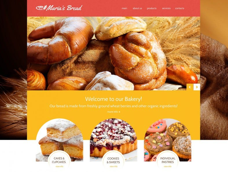Bakery Responsive Website Templates Free Demo