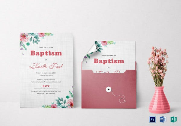 baptism invitation card psd template