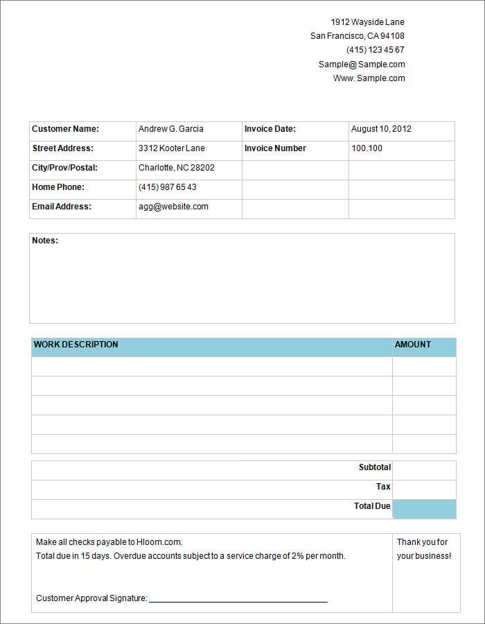 basic service invoice template free joy studio design