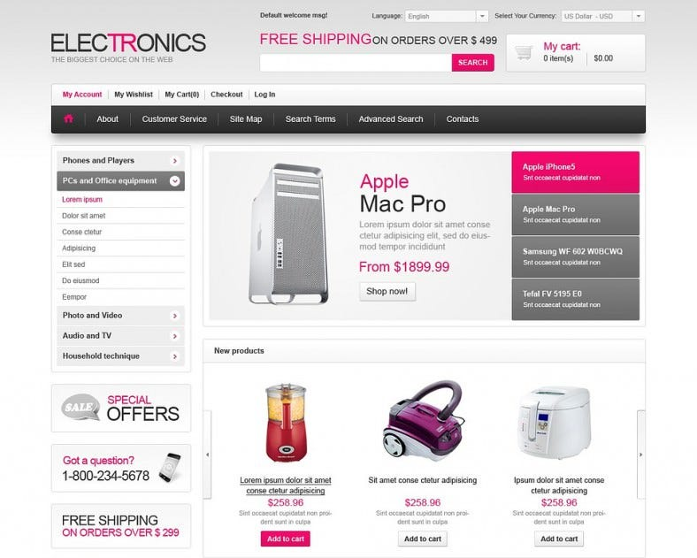 Best Eectronics Store Magento Theme