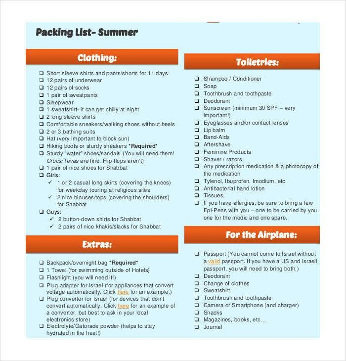 best-summer-packing-list