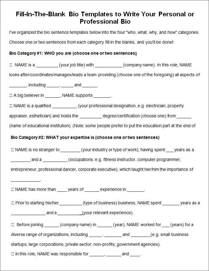 Biography Template For Word Biography Sample Free Word