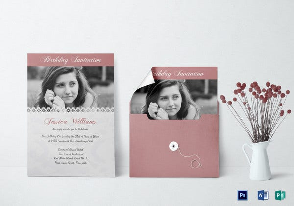 birthday invitation card photoshop template