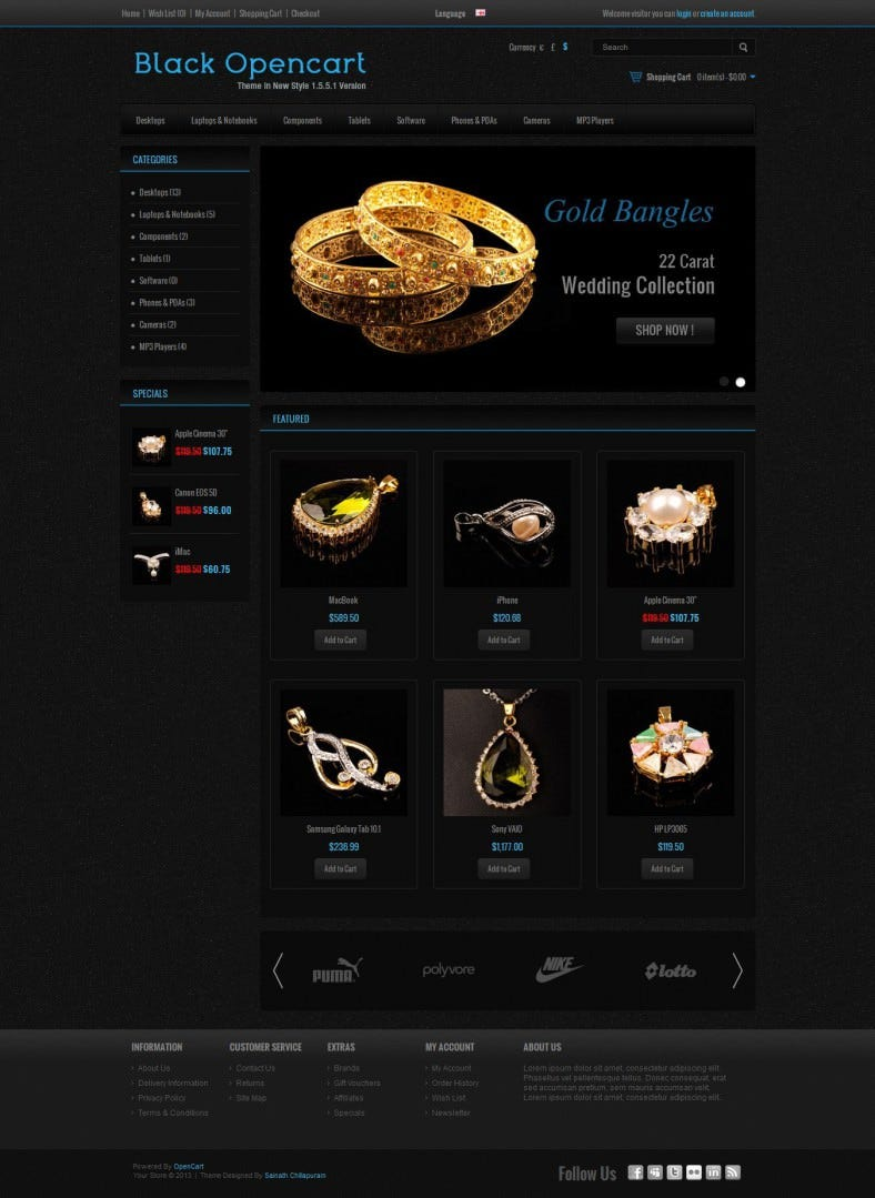 Black Jewelery Store Opencart Template