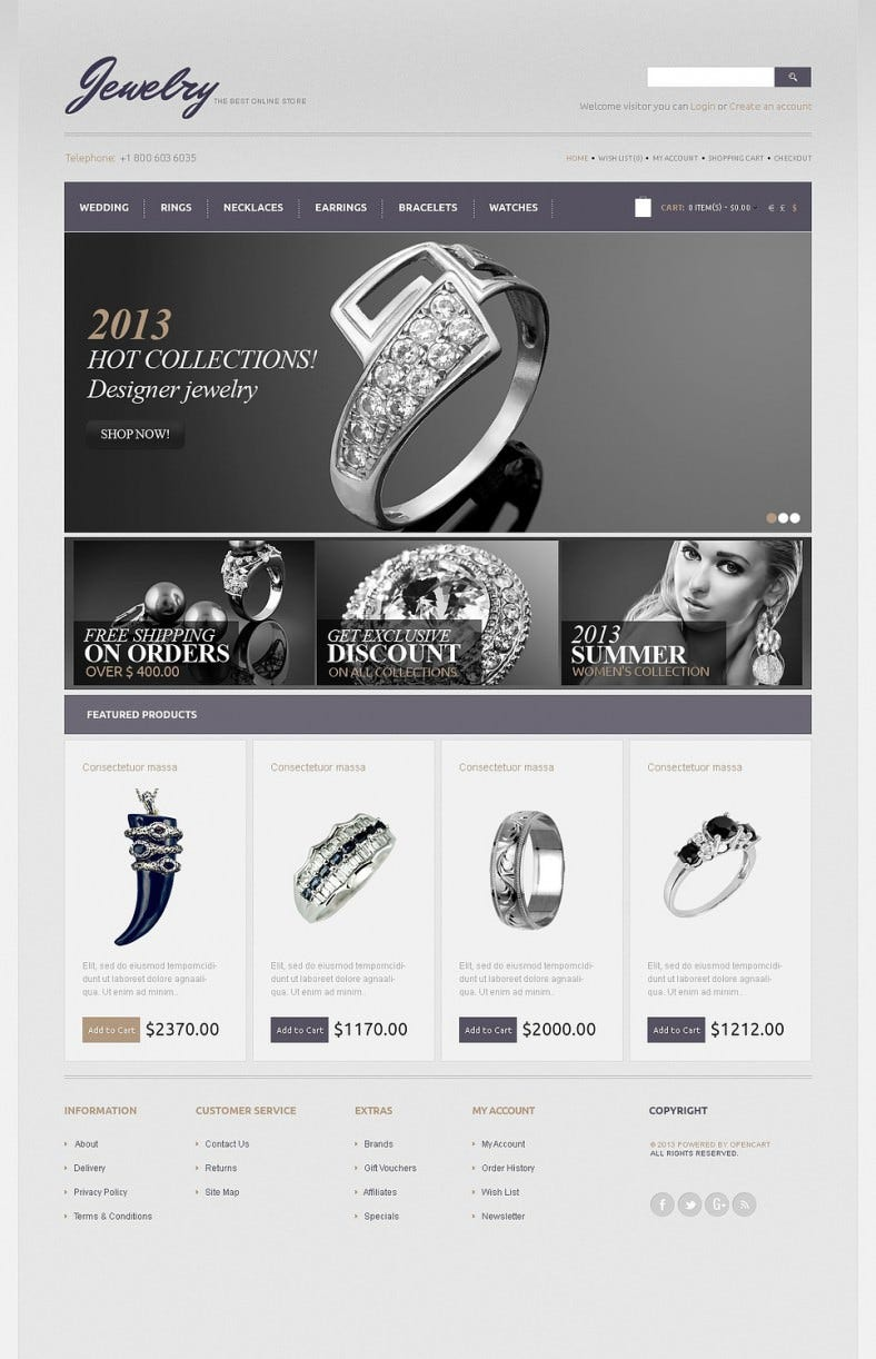 Black & White Jewelry OpenCart Template