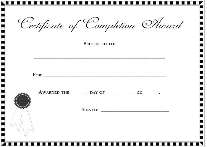 coursework completion certificate