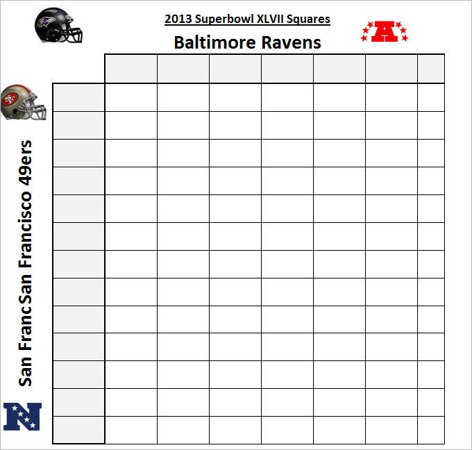 Blank Superbowl Squares Template