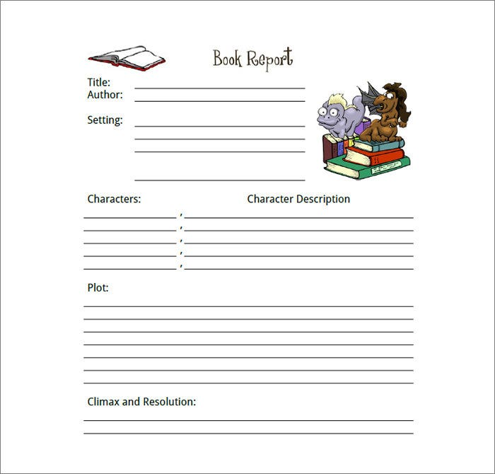 Book Report Template Free  Book Report Template Free