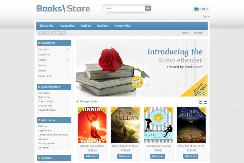 Book and Cd Store Prestashop Template
