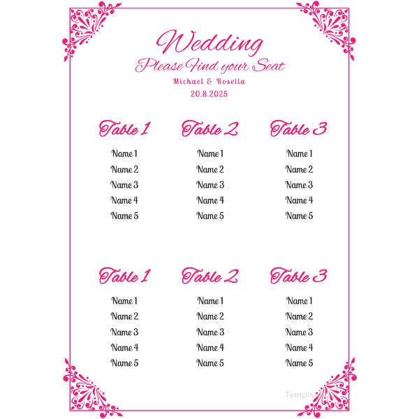 Chart template 61 free printable word excel pdf ppt for Bridal shower seating chart template