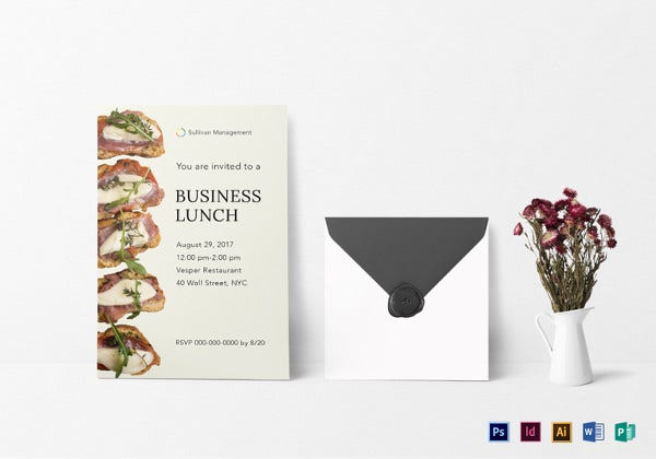 business lunch invitation indesign template