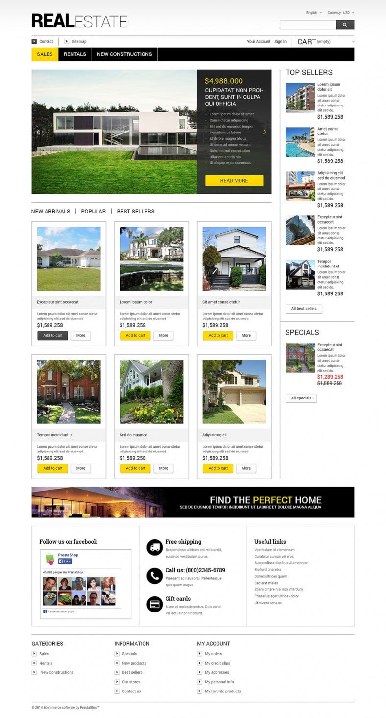 Business PrestaShop Theme for Real Estate