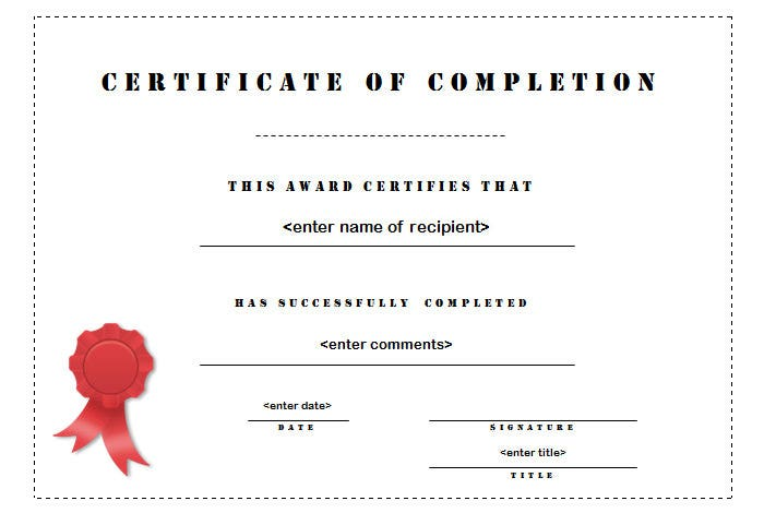 20 Certificate of Completion Templates & Samples