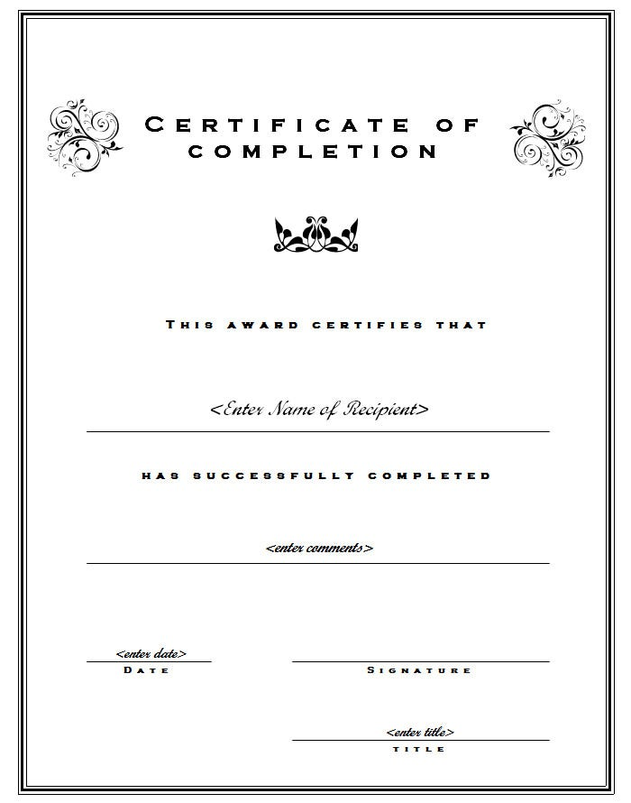 Free certificate of completion template yelopaper Image collections