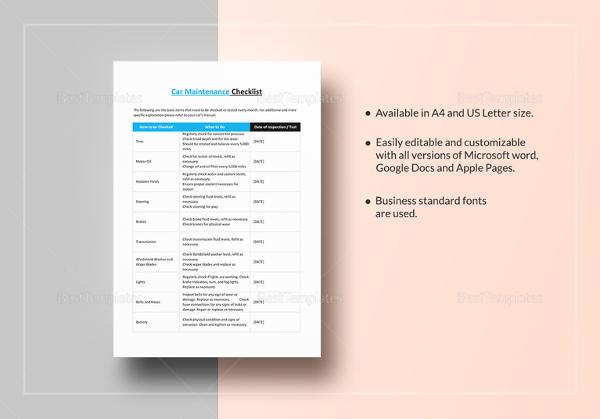 car maintenance checklist template