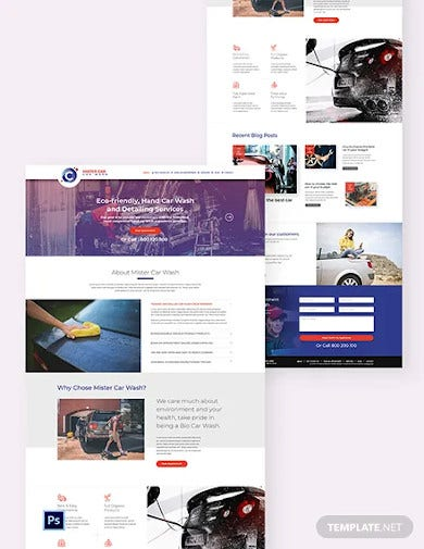 car wash psd landing page template1