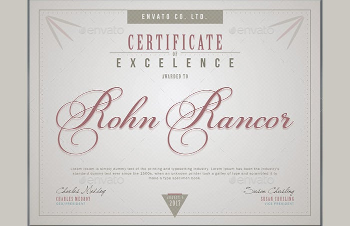Certificate Of Excellence Template Certificate Of Excellence