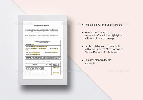 checklist-manufacturer-analysis-template