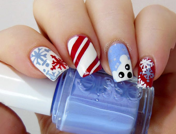 christams nail art design idea