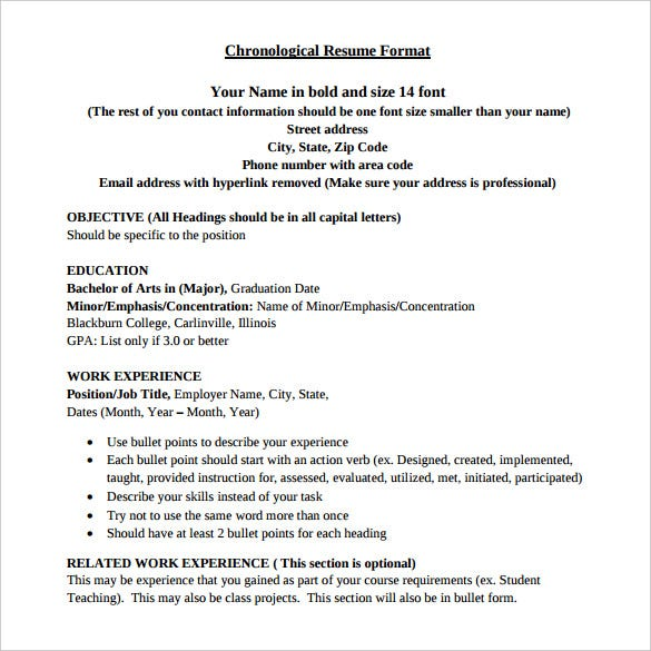 Chronological Resume Format  Work Resume Format
