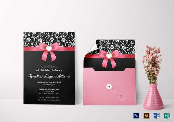classic debut invitation card template