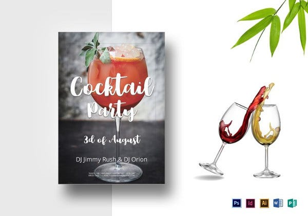 cocktail summer party flyer template
