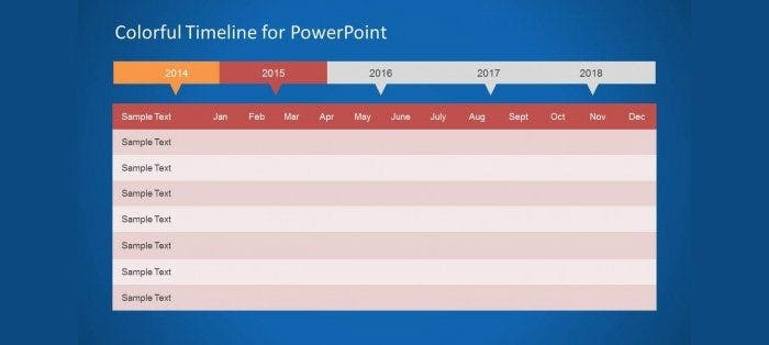 colorful timeline template for powerpoint