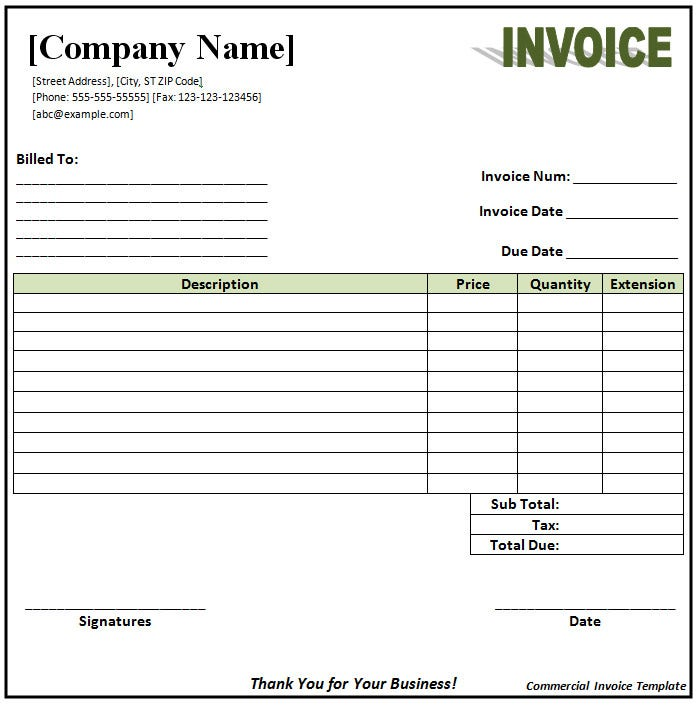 Commercial Invoice Word Template Idealstalist