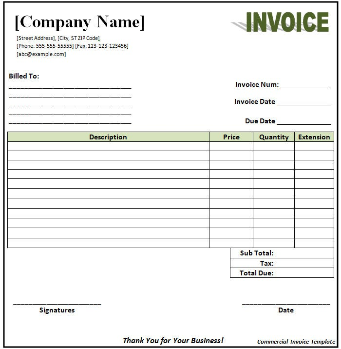 download invoice format - Download Invoice Template