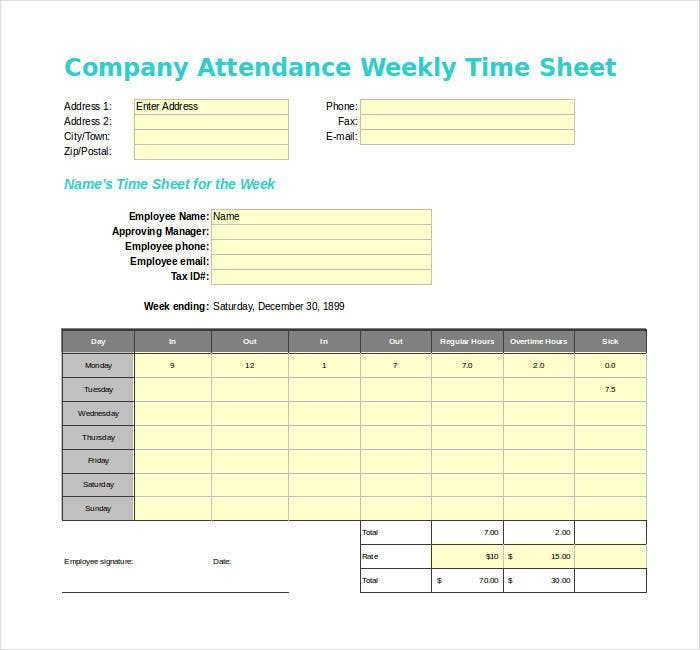 Weekly Attendance Sheet Template Excel Mandegarfo