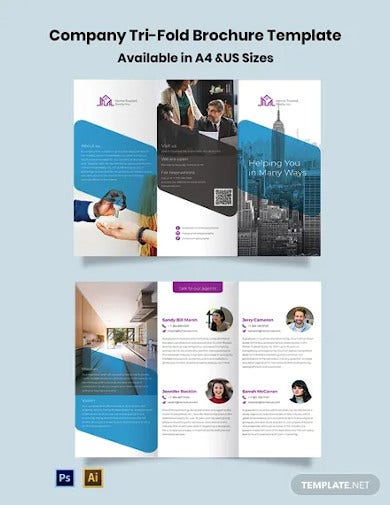 company tri fold brochure template