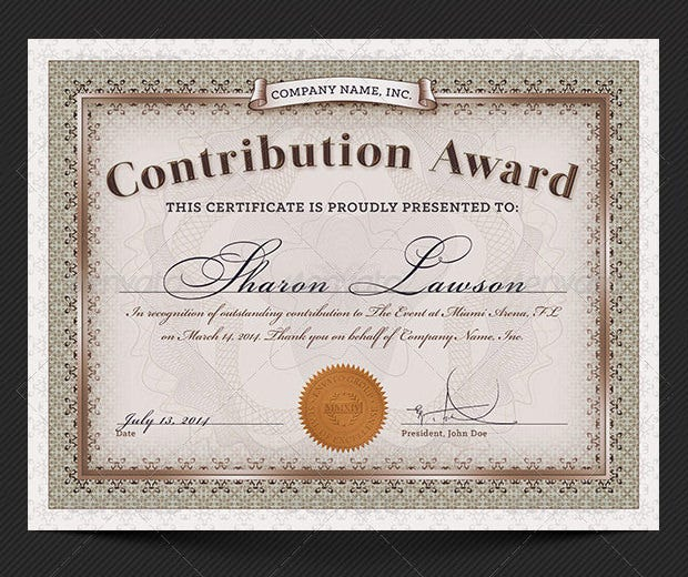 Contribution Award Certificate Template  Award Word Template