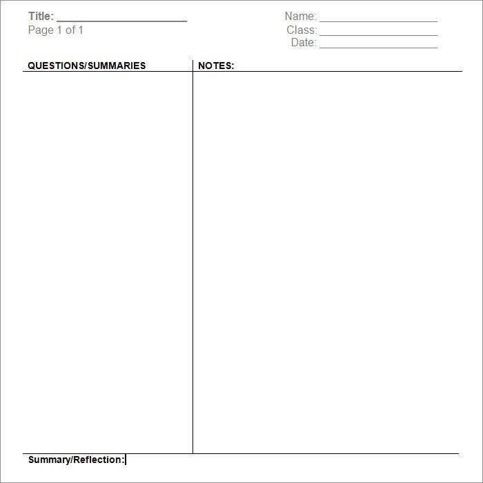 Cornell Note Free Template Download