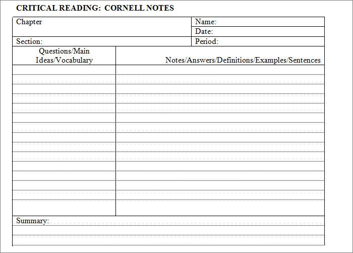 Sample Cornell Notes Template Word Download  Microsoft Word Note Taking Template