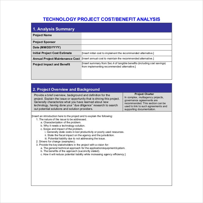 Cost Benefit Analysis Template   Free  Word Documents