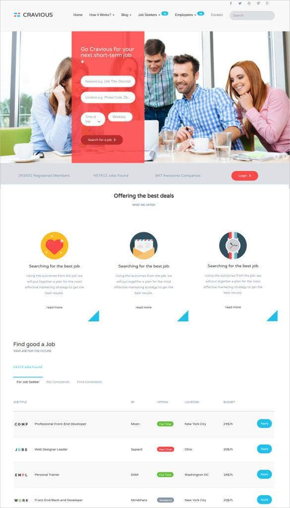 cravious job portal html5 template1