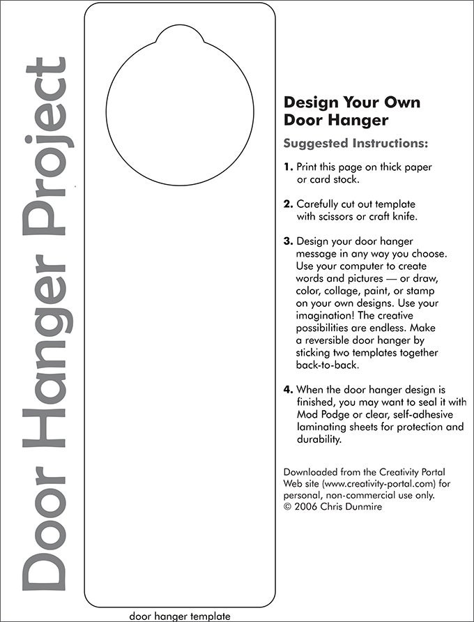 image about Free Printable Door Hanger Template identified as Doorway Hanger Template Absolutely free Quality Templates