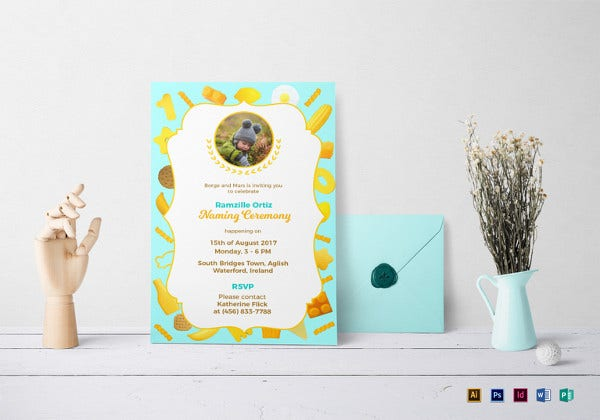 creative naming ceremony invitation template