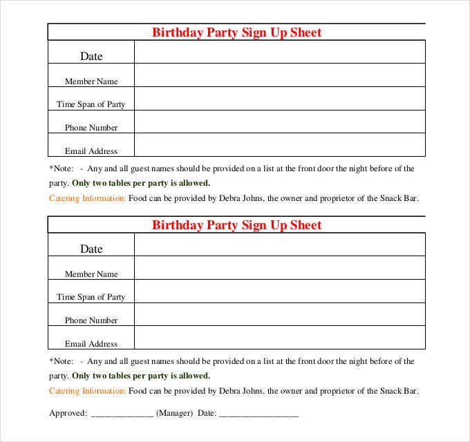 cute birthday party sign up sheet