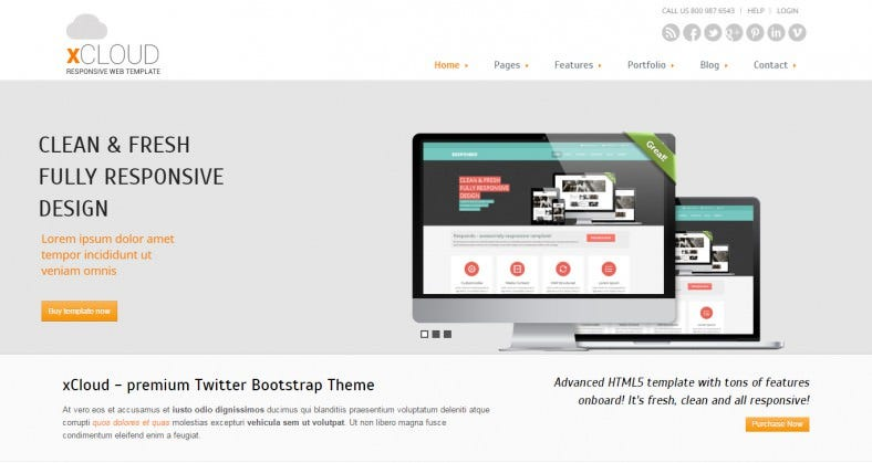 Advanced HTML5 Twitter Bootstrap Template