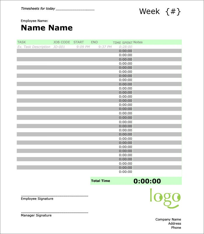 60+ Timesheet Templates - Free Sample, Example, Format | Free ...