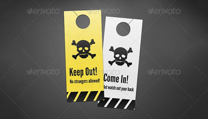 danger icon door hanger mock ups