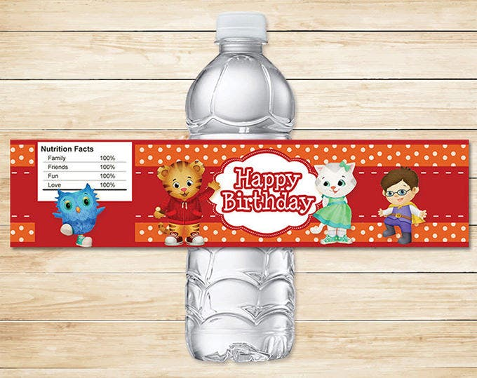 daniel tiger water bottle labels