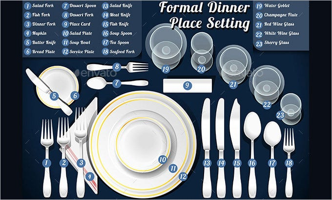 dinner table place setting template