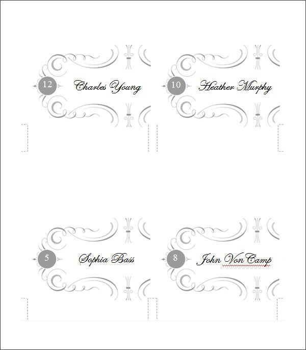 5 printable place card templates designs free for Table placement cards templates